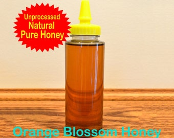 100% Pure Raw Orange Blossom Honey in 12 oz. Squeeze Bottle