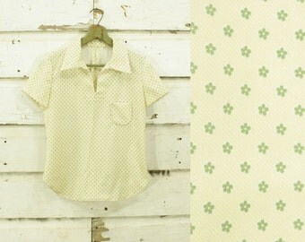 vintage 1960s pale yellow & green flower print handmade top blouse XS
