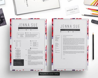 Floral 1 page resume template cover letterreference letter