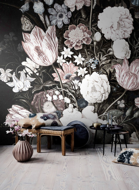 Vintage floral art removable wallpaper wall mural by Floral peel and stick wallpaper