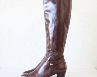 Size 9 Vintage Salvatore Ferragamo Brown Tall Riding Boots