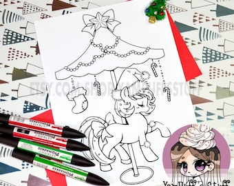 Christmas Carousel Pony  - Clip Art - Digital Stamp