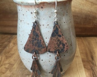 Triangular Copper Hammered Earrings