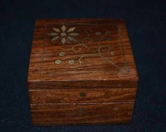 Wooden inlayed with brass box