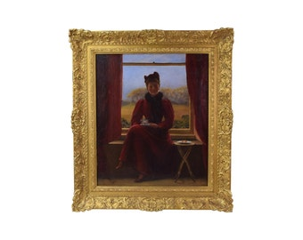 """Oil Painting after Robert Ponsonby Staples """"Ada Taking Tea"""""""