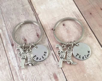 Best friend keychains, best friends initials keychain, partners in crime keychains, personalized gun and boot keychains, Thelma and Louise s
