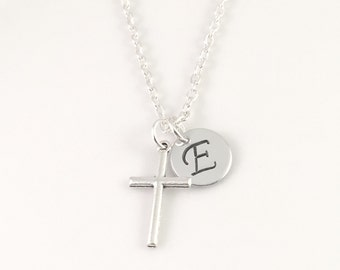 Personalized Cross Initial Necklace, Personalized Cross Necklace, Minimalist Jewelry, Confirmation Gift, 1st Communion necklace, bride gift