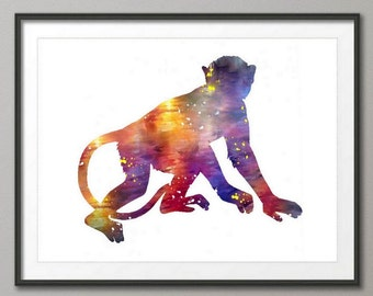 Monkey Art Print, Watercolor Monkey, Nursery Wall Decor, Kids Room Decor, Childrens Room Decor