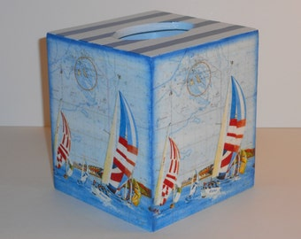 Tissue Box Cover, Decoupage Wooden Tissue Box  Holder, Shabby Chic Style