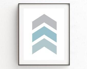 Blue Gray Wall Decor, Blue Gray Wall Print, Geometric Wall Poster, Teal Wall Art Decor, Geometric Art Print, Turquoise Wall Print, Chevron