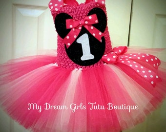 Minnie mouse tutu dress, hot pink Minnie mouse tutu dress, Minnie mouse birthday dress, first birthday Minnie mouse tutu dress, 1st birthday