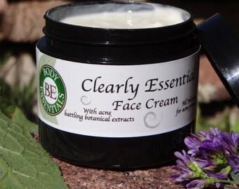 Clearly Essential Face Cream, natural cream for acne prone skin non greasy pimple cream 2 oz