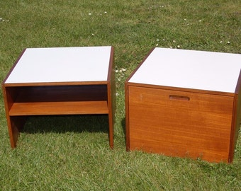 Retro! Pair of Meredew Bedside Cabinets / Stacking / Storage