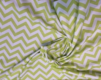 White with Green Chevron Stripes Cotton Print Fabric  By The Yard Premire prints