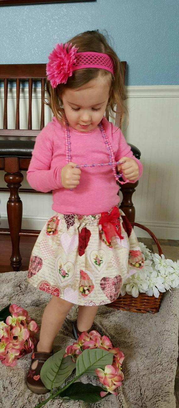 Valentine skirt -Multi Heart bow sash newborn toddler