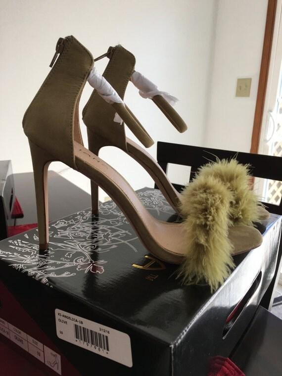 Olive Marabou Heels