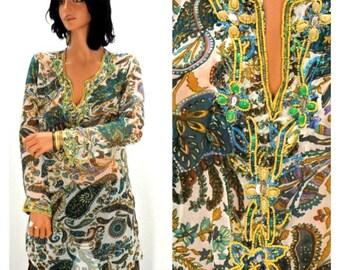 Silk beaded tunic, size S / M, paisley beaded tunic, boho hippie  silk beaded tunic top, SunnyBohoVintage