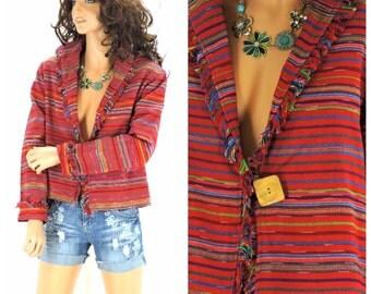 Southwestern cropped jacket, size M, Norm Thompson fringed boho jacket, woven cotton jacket, SunnyBohoVintage
