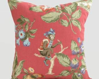 Tropical Pillow, Red Green Blue Brown Monkey Cushion Cover Decorative Throw Pillow Palm Beach House Decor, Coastal Pillows, Accent Pillow