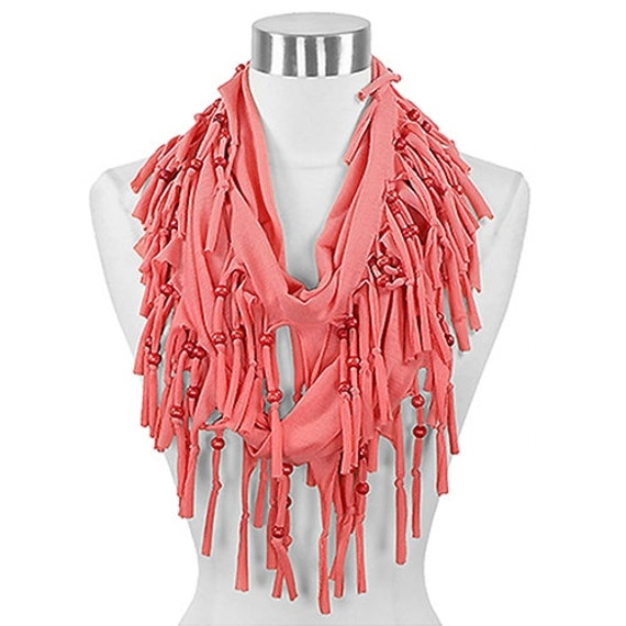 coral beaded fringe infinity scarf by 3storesdown on etsy