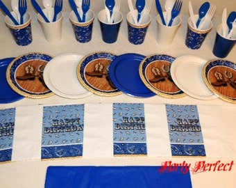 49 pc  Bandana Cowboy Boots Place settings Table Decorations Party Supplies