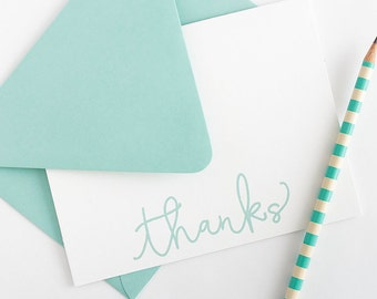 Thank You Notes - Set of 10 Note Cards // Wedding Stationery // Women's Thank You Notes // Simple Stationery // Folded Thank You Note Cards