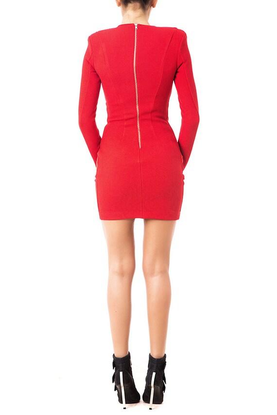 figurbetontes rotes kleid rote hochzeit party kleid kurzes. Black Bedroom Furniture Sets. Home Design Ideas