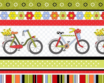 Bicycles and Blooms Floral Stripe by Jillily Studios for Henry Glass #9877 98