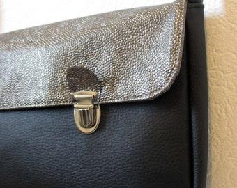 Bag satchel -2 fastener-faux leather - black faux leather Golden-lining cotton Flamant Rose (black) - removable handle