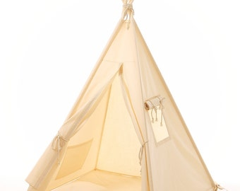 Natural Cotton Teepee, Play Tent, Kids Teepee, Childrens Teepee, Teepee Tent, Tipi, Playhouse, Kids Room Decor