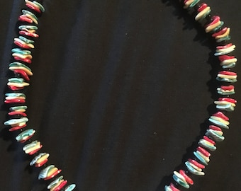 Red Yellow Blue Shell Necklace
