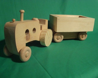 Toy--Tractor and Wagon, All Wood, Handmade