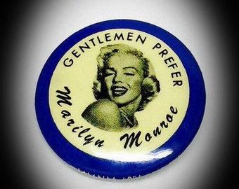 vintage Marilyn Monroe pin gentlemen prefer Marilyn Monroe pin back button 1956