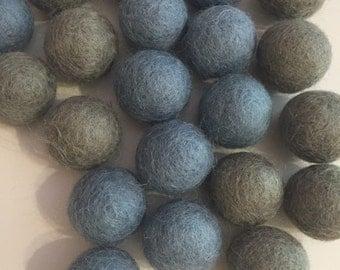 2cm Wool Felt Balls (20 pack) Blue Grey/Medium Grey Mix Australia Garland Craft