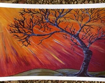 """Fire tree""""11x17 print"""