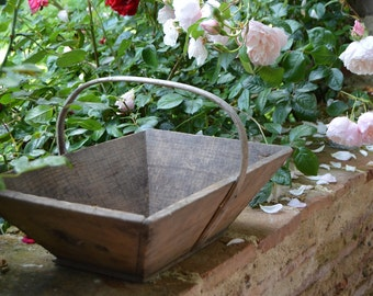 French Vintage Wooden Trug Basket