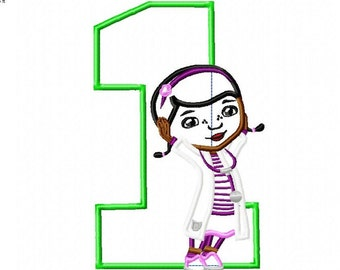 Doc Mcstuffins Applique, Embroidery design, with number 1, 5x7 and 6x10 hoop, instant download