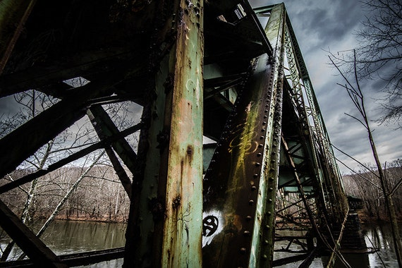 Bridge, Wood Print, Abandoned, Urban Exploration, Rust, Wall Art, Pittsburgh, Pennsylvania, Industrial, Rusty, Vertical, Rain, Cloud, Storm