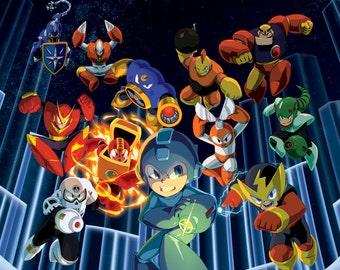 "Megaman Poster  8.5"" x 11"" - 11"" x 17"" - 13"" x 19"""