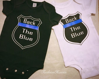 Back the Blue bodysuit - Police Baby Bodysuit - Police Awareness Tees - Thin Blue Line Bodysuit