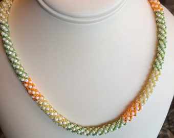 Russian Spiral Necklace, Pearl, Green, Orange