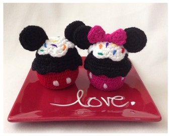 Mickey and Minnie Cupcake Amigurumi Crochet Pattern
