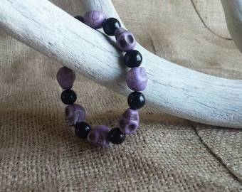 Purple and Black Beaded Skull Stretch Bracelet