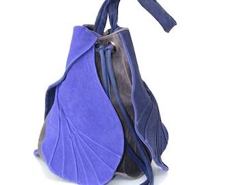 Leather Shoulder Bag | Genuine Leather Bag | DESIGNER Shoulder Bag | Handmade Shoulder Bag | Feedbag Tulip Blue Grey