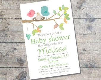 Bird Nest Baby Shower invitation  (GREEN) DIY Printable Baby shower neutral Bird theme baby shower gender neutral baby shower invitation