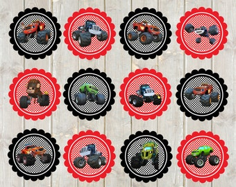Blaze and the Monster Trucks Cupcake Toppers, Blaze Cupcake Toppers, Blaze Favor Tags, Blaze Labels, Blaze and the Monster Trucks Favor Tags