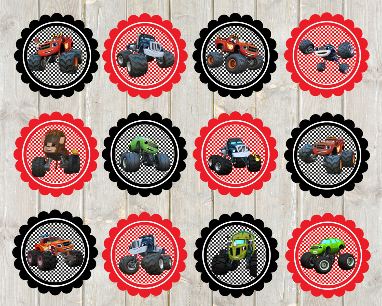 Blaze and the Monster Trucks Cupcake Toppers by PartyOnInvites