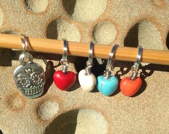 Hearts & Sugar Skull Stitch Markers - Set of 5