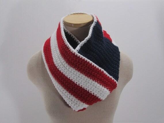Crochet American Flag Scarf Pattern : Items similar to Crochet American Flag Infinity Scarf ...