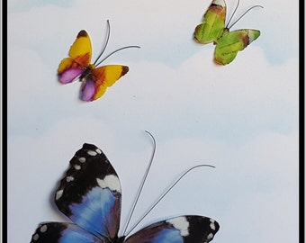 Morpho Violacea butterfly with little friends  (White) All  cards are Crafted from recycled paper